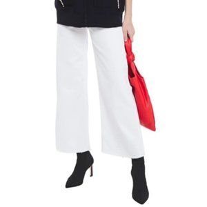 Sandro Owell Cropped High-waisted Wide-leg Jeans